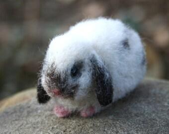 Miniature Lop Eared baby Bunny Rabbit  Smudge Artist OOAK Alpaca Needle Felted Sculpture