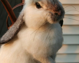 OOAK Needle felted Alpaca Life Size Lop Ear Bunny Rabbit Poseable  Free shipping