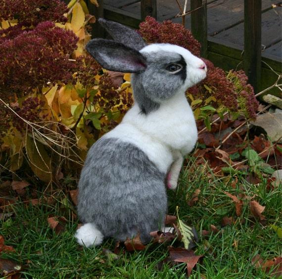 2012 TOBY Award OOAK Needle felted Alpaca Life Size Gray & White Bunny Rabbit Poseable  Free shipping