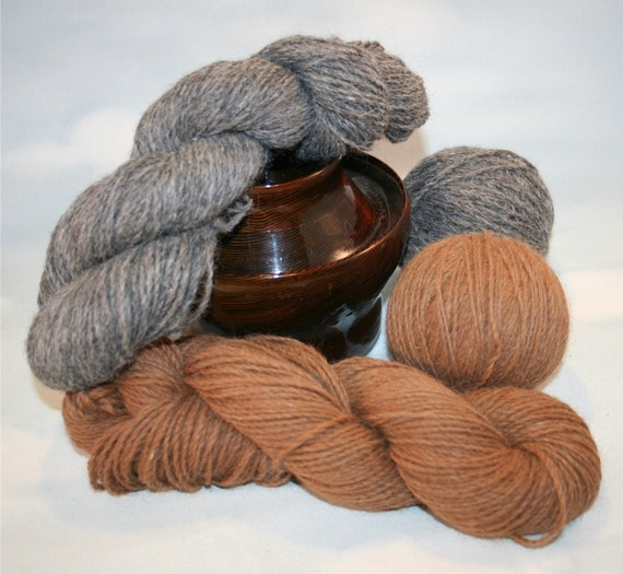 Alpaca Sport weight Yarn Natural Bug  Brown  or Farm Mix Gray ,2 ply  200 yds skein Perfect for Crochet, Knitting, Rag Doll wigs