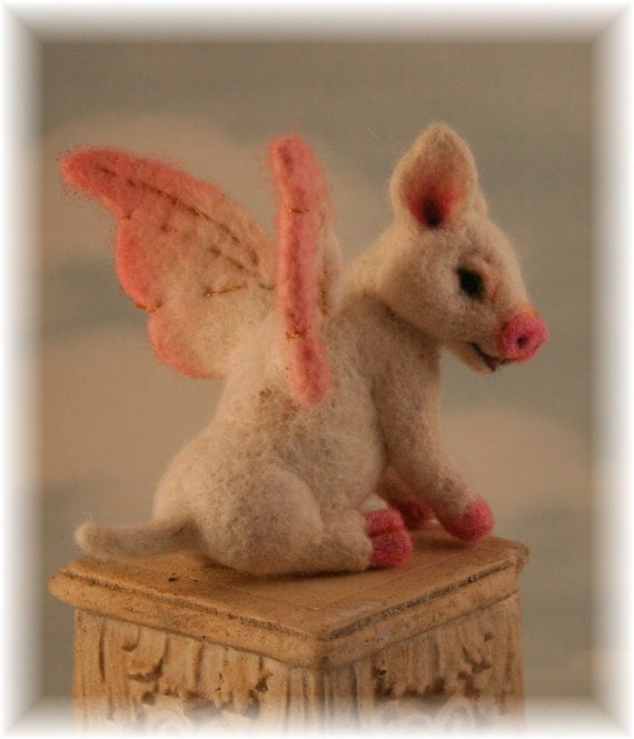 When Pigs Fly Piglet OOAK  Needle felted  Alpaca Artist Doll Bear by Stevi T.