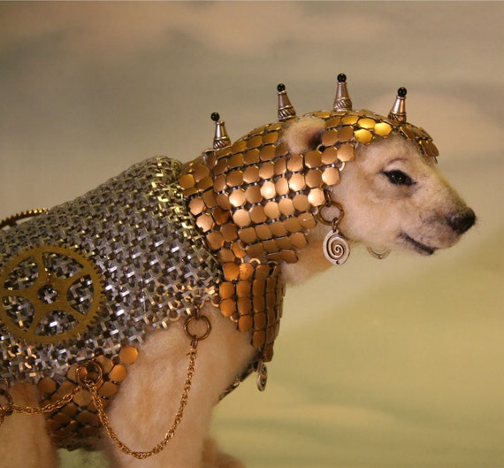 Alpaca Needle Felted Steampunk Panserbjorne Armored Ice Bear with Whiting & Davis Armor OOAK Artist Bear