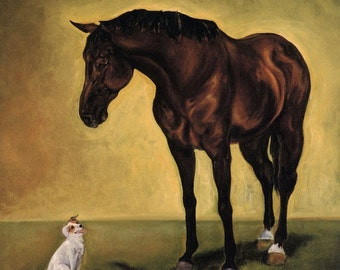 EQUINE FINE ART Horse Dog Art Sam and Brighton Painting by Joanna Zeller Quentin