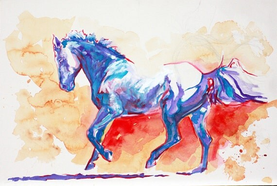 EQUINE ART Equestrian Horse Painting Fine Art Colors of the Wind ORIGINAL Artwork Watercolor by Joanna Zeller Quentin