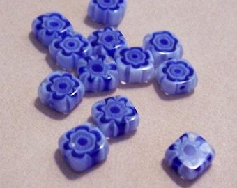 Blue Millefiori beads 6m........12 beads