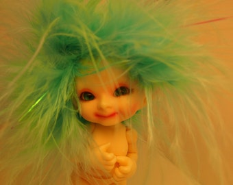 Don't be Blue, be Sparkly, Realpuki of the Ancient Fae Forest Feather Headband Wig Size 3 Tiny BJD