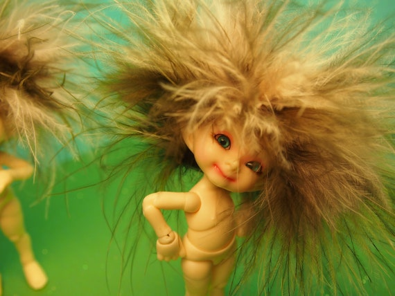 Little Wild Child of the Ancient Fae Forest Realpuki Feather Headband Wig Size 3 Tiny BJD