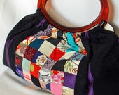 30% off  Vintage Kimono Patchwork Tote Bag With Acrylic Handles