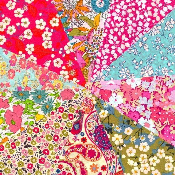 Summer Rainbow Selection of 10 Gorgeous Liberty of London Fabric 5in Charm Squares