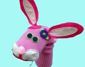 SALE  Pink Bunny Rabbit Sock Puppet