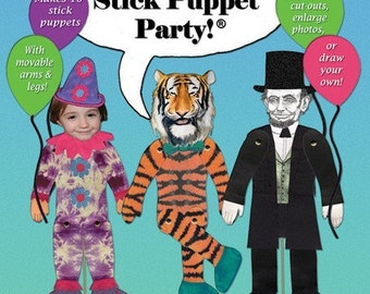 Stick Puppet Activity. Puppet making kit. Cool summer crafts. Birthday party activity