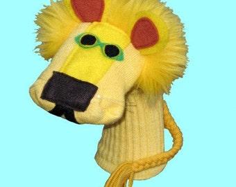 SALE Handmade Yellow Lion Sock Puppet