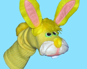 SALE Yellow Bunny Rabbit Sock Puppet