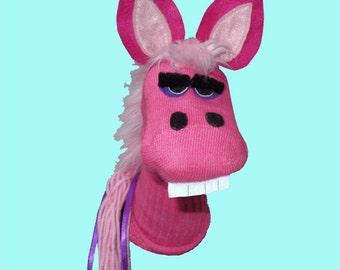 SALE Handmade Horse Sock Puppet Pink Pony Sock Puppet Pink Donkey Sock Puppet