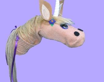 SALE Handmade Unicorn Sock Puppet. Child Size Puppet. Sale Code inside.