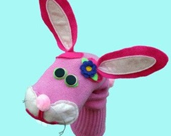 SALE Pink Bunny Rabbit Sock Puppet