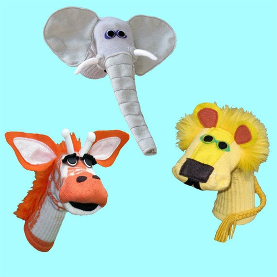 Handmade Sock Puppet Safari Gift Set