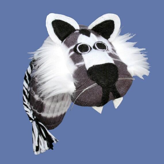 Handmade White Siberian Tiger Sock Puppet