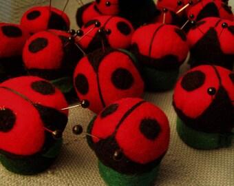 Ladybugs, ladybugs, ladybugs   Stocking stuffers! tiny pin cushions, soft sculpture, decoration