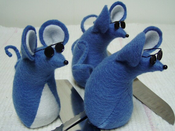 Three Blue Blind Felt Mice  decoration  ornament  keepsake  soft sculpture