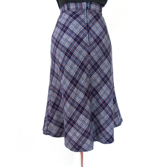 vintage 70s plaid high waisted skirt xs blue by mrbootsvintage
