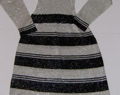 Full length striped metallic knit dress with hood S M