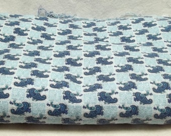 Royal Blue paisley flannelet fabric, sky blue, pyjamas, blankets treasury item