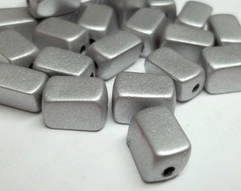 Silver grey plastic rectangular beads 10x5mm