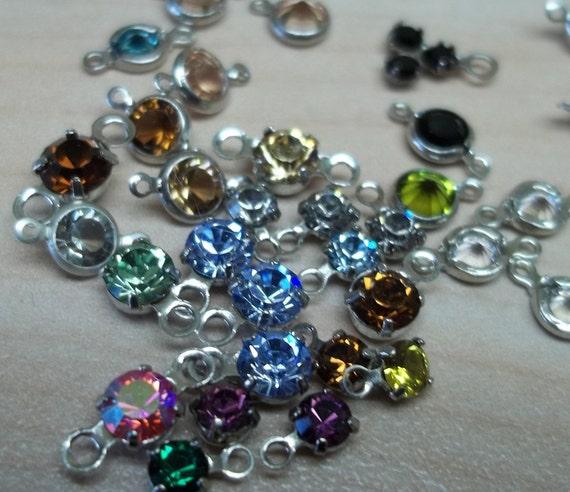 55 mixed colors 3mm swaroski crystal channel links 2 loops 1 loop