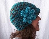 Newsboy Hat Women's crochet tourqoise chocolate brown