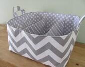 NEW Fabric Diaper Caddy - Fabric organizer storage bin basket - Perfect for your nursery - Grey Zig Zag