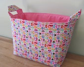 LARGE Fabric Organizer Basket Storage Container Bin Bucket Bag Diaper Holder Home Decor- Size Large - Tiny Owls in Pink