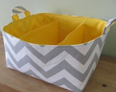 "Diaper Caddy - Fabric Storage Basket - 11""x11"" Organizer Bin - Storage box - Diaper Bag - Baby Gift - Nursery Decor - Grey Chevron Zigzag"