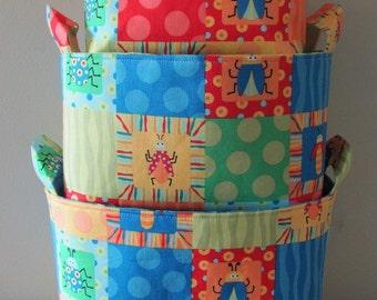 NEW Fabric Organizer Basket Storage Container Bin - Set of 3 - Beetle Boy by Ellen Crimi