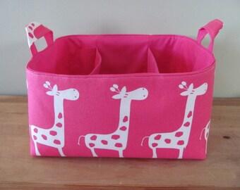 Fabric Diaper Caddy - Storage Container Basket - Organizer Bin - Tote Bag - Bucket - Baby Gift - Nursery - Pink/White Giraffes