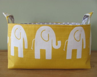 NEW Fabric Diaper Caddy - Fabric organizer storage bin basket - Perfect for your nursery - Yellow/White Elephant
