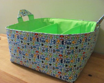 NEW Fabric Diaper Caddy - Fabric organizer storage bin basket - NEW tiny owls in blue