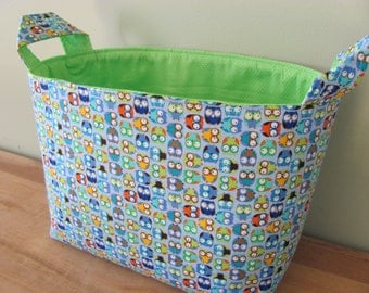 LARGE Fabric Organizer Basket Storage Container Bin Bucket Bag Diaper Holder Home Decor- Size Large - Tiny Owls in Blue