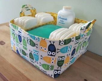 NEW Fabric Diaper Caddy - Fabric organizer storage bin basket - Urban Zoologie Owls