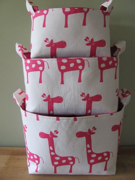 NEW Fabric Organizer Basket Storage Container Bin - Set of 3 - Pink/White Giraffes