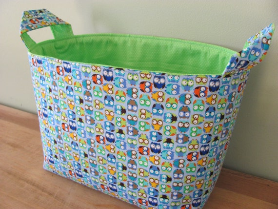 LARGE Fabric Organizer Basket Storage Container Bin - Size Large - Tiny Owls in Blue