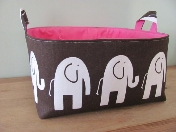 NEW Fabric Diaper Caddy - Fabric organizer storage bin basket - Perfect for your nursery - Brown/Pink Elephants