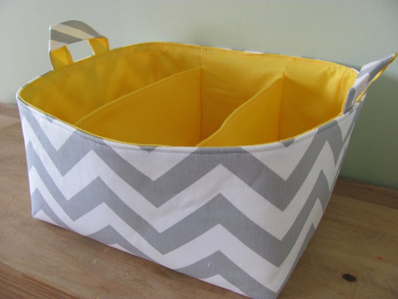 NEW Fabric Diaper Caddy - Fabric organizer storage bin basket - Grey Zig Zag