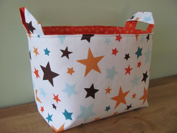 LARGE Fabric Organizer Basket Storage Container Bin - Size Large - All Star Main Stars