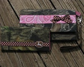 Pink Paisley John Deere and Mossy Oak Breakup 2 pc Wallet Set Made to Order