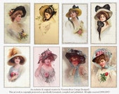Victorian Ladies Series Hats Vintage Attic Collage Sheet 73