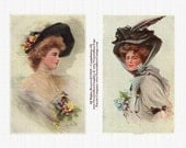 Victorian Ladies Hats Feathers Roses Blooms Digital Collage Sheet 534