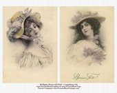 Digital Reprint Vienne Style Pale Tones Victorian Ladies Big Hats Lilacs Collage Art 566