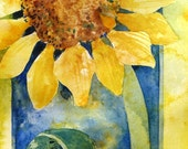 Sunflower Study - original watercolor