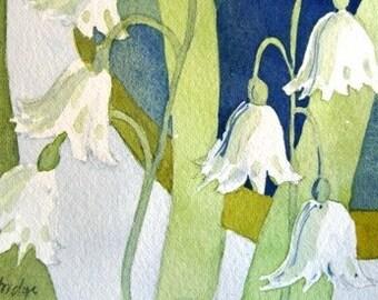 Original Watercolor - Delicate, White Snow Drops